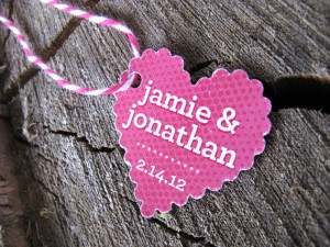 Heart shaped favor tags