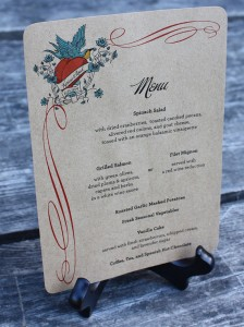 Modern heart theme wedding menu