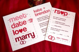 clever heart wedding invitation