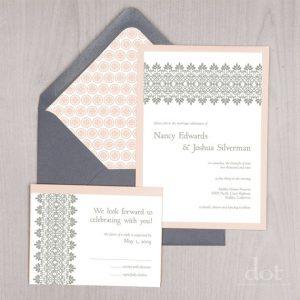 lace detail handmade wedding invitation
