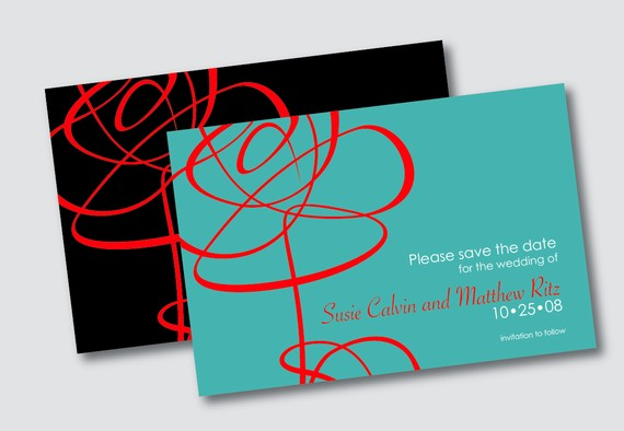 Red And Teal Wedding Save The Date Invitation
