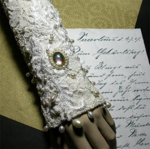 white bridal fingerless glove