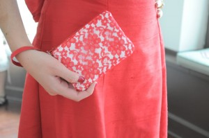 red lace wedding clutch