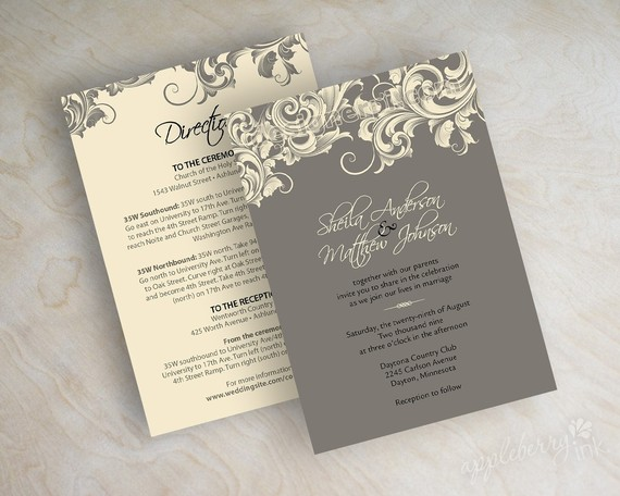 invitation by appleberry ink on etsy - Wedding Invitation Wording Together With Their Parents