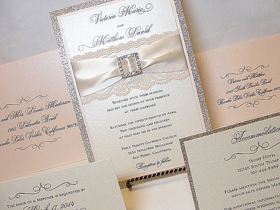 COCO Glitter and Lace Wedding Invitations by LavenderPaperie