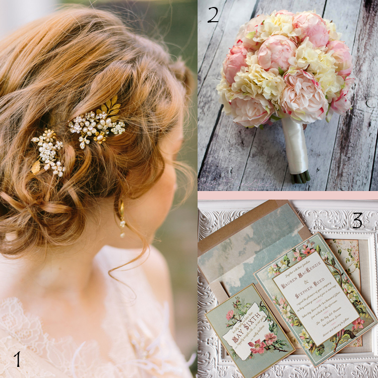 1. Floral Wedding Hair Pins by OWDJewelry 2. Ivory and Blush Wedding Bouquet by Kate Said Yes 3. Vintage Floral Frame Wedding Invitations by Sunshine and Ravioli | A treasury of a Secret Garden curated by Etsy Wedding Team