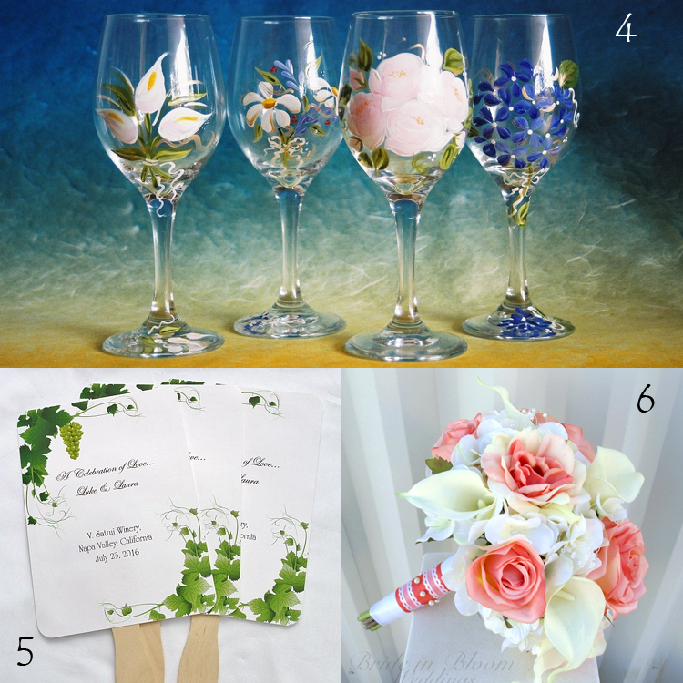 4. Garden Party Wedding Glasses by Crystal Peace Studios  5. Grapevine Personalized Wedding Hand Fans by Abby and Izzie Designs  6. Coral Rose and White Calla Lily Bridal Bouquet by Bride in Bloom Weddings | Inspiration Board by Etsy Wedding Team