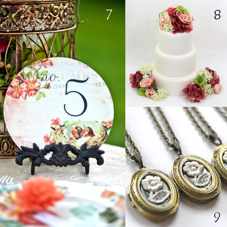 7. Wedding Circle Table Numbers by Company Forty Two  8. Coral Hydrangea and Green Calla Lily Silk Flower Cake Topper by It Tops the Cake  9. Lace Flower Bridesmaid Locket Necklaces by Aristocrafts | Inspiration Board by Etsy Wedding Team