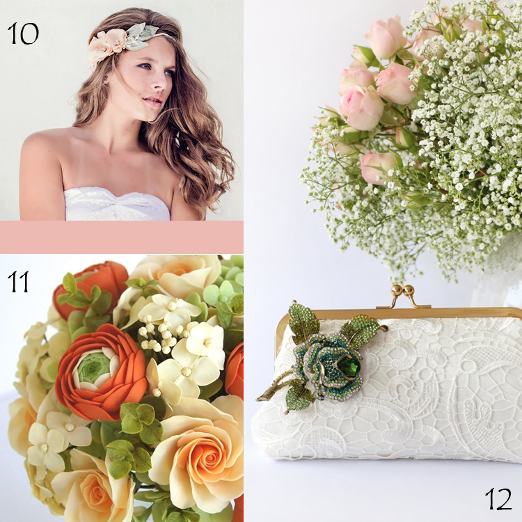 Woodland Wedding Floral Crown by Gade Gaard Design, Clay Orange and Peach Spring Rose and Ranunculus Bouquet by parsi, Bridal Clutch with Rhinestone Rose Embellishment by ANGEEW